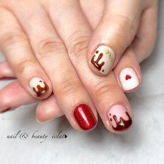 #ショートネイル#バレンタインネイル#チョコネイル #nail & beauty éclat❥ #ネイルブック