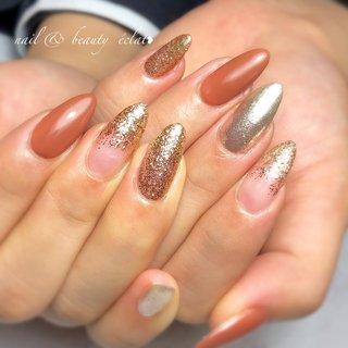 #ワンカラーネイル#ラメグラデーション #ブラウンネイル#ゴールドネイル #nail & beauty éclat❥ #ネイルブック