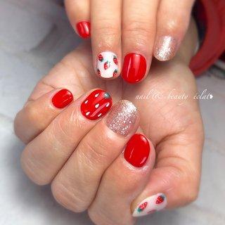 #ワンカラーネイル#赤ネイル#いちごネイル#ショートネイル #nail & beauty éclat❥ #ネイルブック