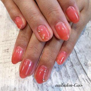 #ハンド #シンプル #ピンク #オレンジ #ジェル #お客様 #nail salon-gao- #ネイルブック