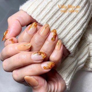 #春 #冬 #オールシーズン #パーティー #ハンド #ラメ #シースルー #たらしこみ #ニュアンス #ミディアム #ベージュ #オレンジ #シルバー #ジェル #お客様 #Villa Bloom nail salon #ネイルブック