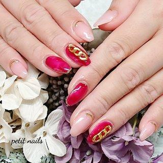 #ハンド #べっ甲 #ピンク #レッド #ジェル #お客様 #petit_nails -プチネイルズ- #ネイルブック