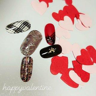 #バレンタインネイル #ツイード #ツイードネイル #冬ネイル #チョコレートネイル #冬 #バレンタイン #デート #女子会 #ハンド #ホログラム #ラメ #チェック #大理石 #ツイード #ホワイト #ボルドー #ブラウン #ジェル #KIKO #ネイルブック