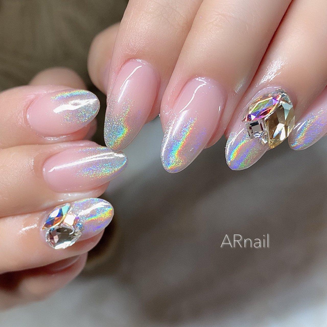 #ユニコーン #ユニコーンネイル #冬 #ビジュー #ビジューネイル Instagram→aki_.nail #nail_aki #ネイルブック