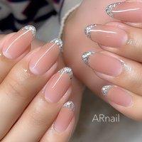 #シンプル #シンプルネイル #ベージ#ホログラム #ラメフレンチ  Instagram→aki_.nail #nail_aki #ネイルブック