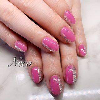 #ハンド #ホログラム #ワンカラー #ピンク #ジェル #お客様 #nail salon Neco #ネイルブック