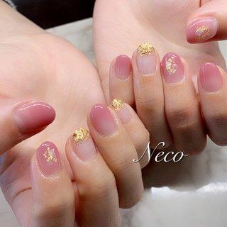 #ハンド #グラデーション #シェル #ピンク #ジェル #お客様 #nail salon Neco #ネイルブック