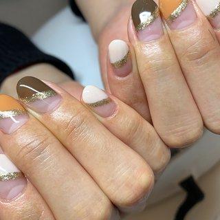 #3色ネイル #フレンチネイル #ハンドジェル #ラメネイル #ななめフレンチ #フレンチネイルデザイン #N.be...nail #ネイルブック
