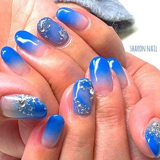 #グラデーション #ブルー#ハンド #sharon nail #ネイルブック