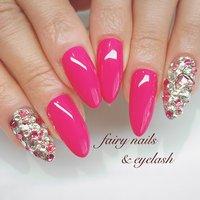#ワンカラー #ビジュー #ピンク #うるつや #春 #夏 #ハンド #ワンカラー #ビジュー #ミディアム #ピンク #ゴールド #ジェル #お客様 #fairy nails & eyelash フェアリーネイルズ&アイラッシュ #ネイルブック