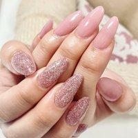 #スカルプ#ピンク #ピンクラメ #きれい#きれいめネイル #ロング #ハンド #ロング #スカルプチュア #お客様 #MONA'SLASH #ネイルブック
