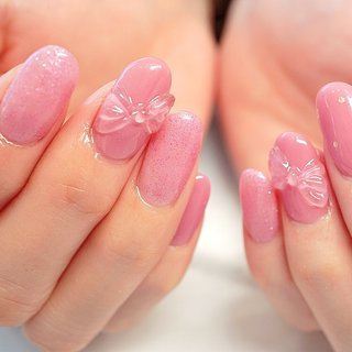 #リボンネイル#ぴ #ange nail salon #ネイルブック