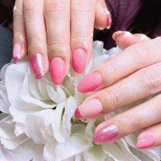 #ピンク #ラメ #ピンクづくし #ハンド #フレンチ #ラメ #ワンカラー #ミディアム #ピンク #ジェル #お客様 #あめちゃん #ネイルブック