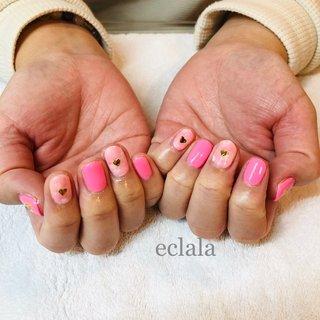 #pink #春 #バレンタイン #デート #ハンド #ピンク #カラフル #eclalaエクララ #ネイルブック