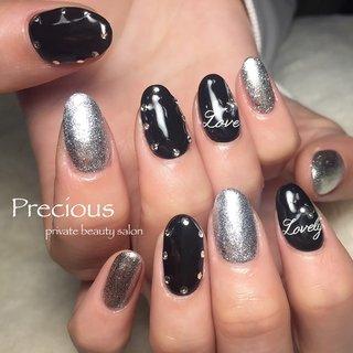 black×silver♥    #Precious#blacknails#silvernails#winternails#winter#キラキラネイル#ブラックネイル#シルバーネイル#越谷ネイル #Precious 〜プレシャス〜 #ネイルブック