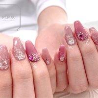 #オールシーズン #ワンカラー #ビジュー #ハート #ピンク #シルバー #fleur nailsalon #ネイルブック