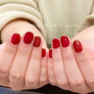 #レッドネイル #赤 #バレンタイン #シンプル #ラメフレンチ #ラメ #オールシーズン #バレンタイン #ライブ #クリスマス #ハンド #シンプル #ラメ #レッド #ボルドー #ジェル #お客様 #chicco #ネイルブック