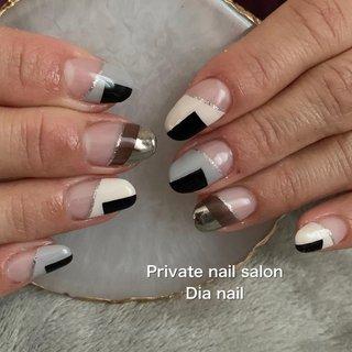 #秋 #冬 #オフィス #ハンド #フレンチ #変形フレンチ #Private nail salon Dia nail #ネイルブック