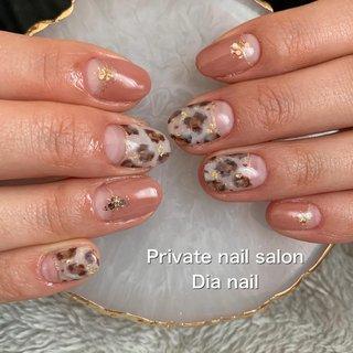 #秋 #冬 #オフィス #パーティー #ハンド #フレンチ #アニマル柄 #レオパード #Private nail salon Dia nail #ネイルブック