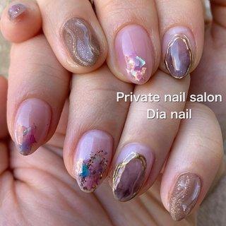 #春 #入学式 #オフィス #女子会 #ハンド #ラメ #グラデーション #シェル #Private nail salon Dia nail #ネイルブック