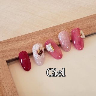 #春ネイル #ピンク #フラワー #シェル #金箔 #ラメ #春 #オールシーズン #バレンタイン #デート #ワンカラー #ラメ #シェル #ミディアム #ピンク #ゴールド #ジェル #ネイルチップ #Boutique de nails Ciel ブティークドゥネイルズ シエル #ネイルブック