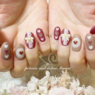 #バレンタイン #ハート #バレンタイン #nail salon Anmut #ネイルブック