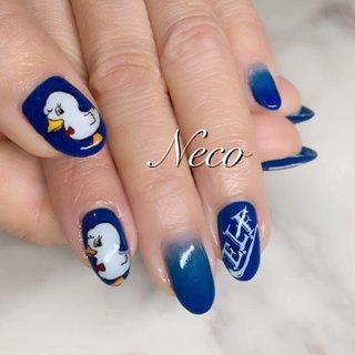 #スーパージュニア #ロゴネイル #キャラクター #ロック #ブルー #ジェル #お客様 #nail salon Neco #ネイルブック