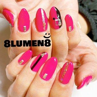 #縦ラインネイル #ピンク×ブラック  #8lumen8 #ハンド #シンプル #ピンク #ブラック #8Lumen8 #ネイルブック