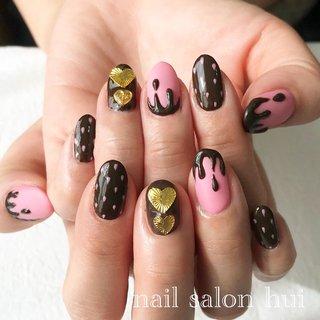 #いちごチョコネイル #バレンタイン #ハンド #ピンク #ブラウン #お客様 #nailsalon_hui #ネイルブック