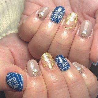 #バレンタイン #入学式 #パーティー #女子会 #ハンド #エスニック #ネイティブ #ボヘミアン #ミディアム #ホワイト #ブルー #ゴールド #ジェル #お客様 #Y nail!! 4753 #ネイルブック