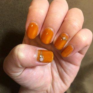 #オレンジ #ハンド #シンプル #ショート #オレンジ #もっちもこ #ネイルブック