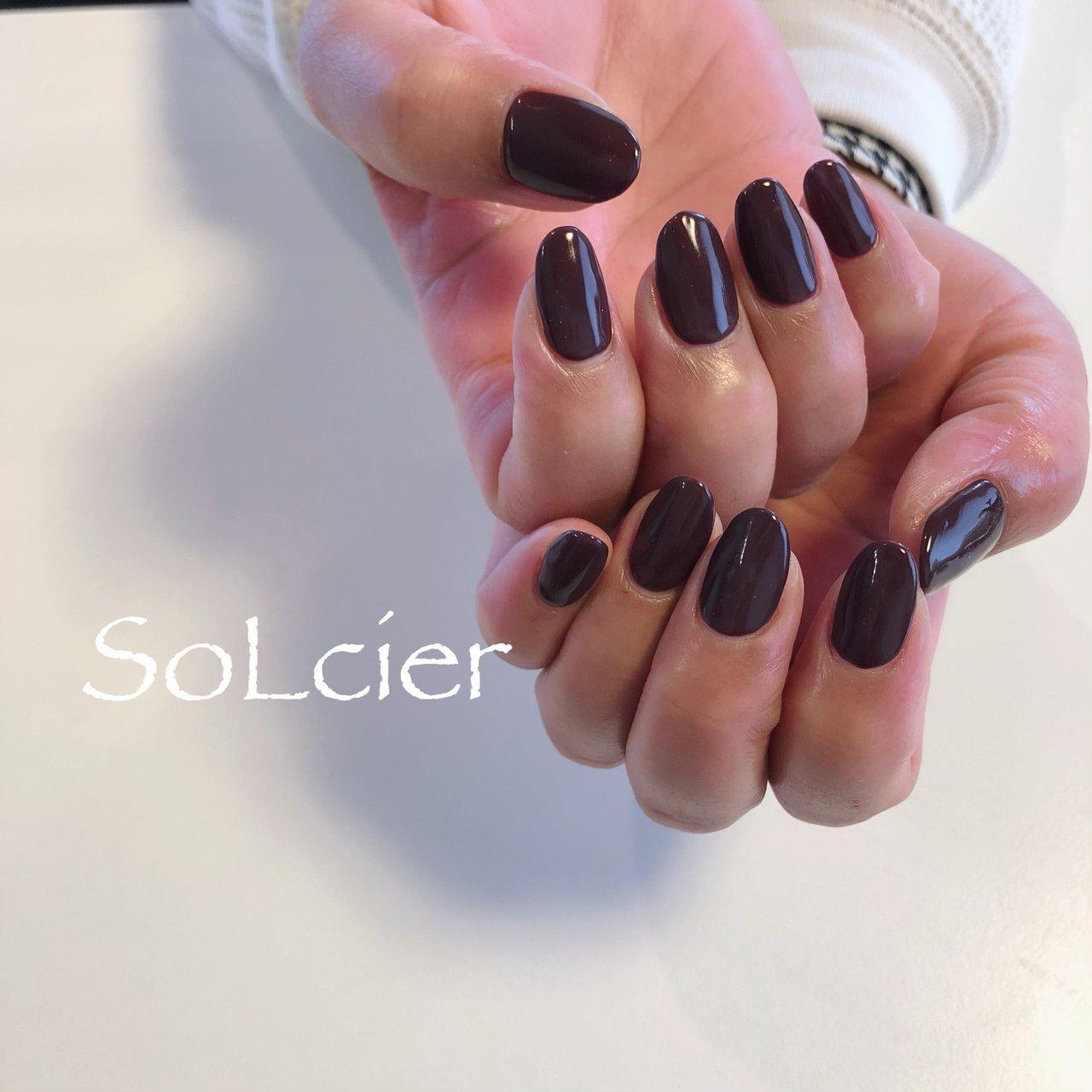 #ハンド #シンプル #ワンカラー #【SoLcier】ソルシエ #ネイルブック