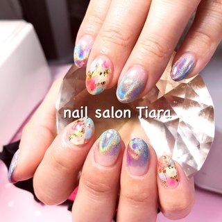 #ユニコーンパウダー #ミラーネイル #ネイル#ネイルアート#ネイルデザイン #ネイルサロン #nail#naildesign #nailart #グラデーション #nail salon Tiara #ネイルブック
