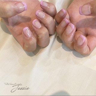 #春ネイル #オフィスネイル #スクエアネイル #ニュアンスネイル #フレンチネイル #ピンクネイル #ハンド #フレンチ #ショート #Total beauty Salon Jessie #ネイルブック