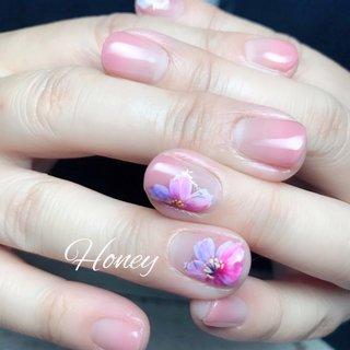 #フラワーネイル #春 #オールシーズン #フラワー #ピンク #パープル #kazue nakanishi #ネイルブック
