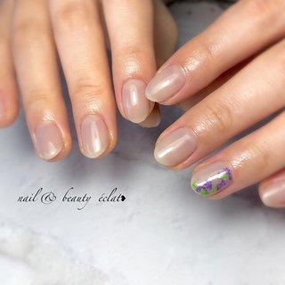 #くすみカラー#ショートネイル#藤の花 #ワンカラーネイル #nail & beauty éclat❥ #ネイルブック
