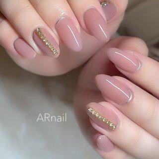 #ピンク #シンプルネイル #ベージュネイル Instagram→aki_.nail #nail_aki #ネイルブック