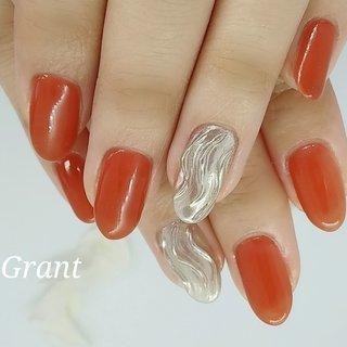 #北九州ネイルサロン #Grant #パラジェル #nails #nail #handnail #ジェルネイル #nailart #ミラーネイルデザイン #テラコッタ #ウェーブネイル #Grant #ネイルブック