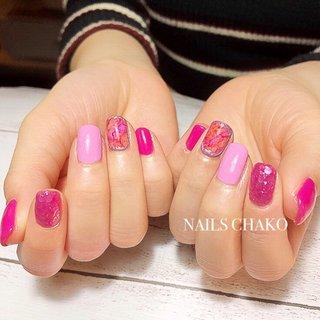 #ピンク #ショッキングピンク #リキッドネイル #春ネイル #ビビッド #春 #ハンド #タイダイ #ショート #ピンク #ジェル #お客様 #NAILS CHAKO #ネイルブック