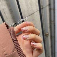 #春 #卒業式 #入学式 #ハンド #シンプル #フレンチ #フラワー #ショート #クリア #ピンク #ゴールド #ジェル #お客様 #MOMOKO / wear nail #ネイルブック