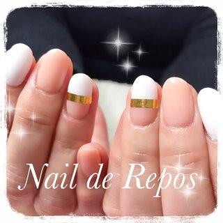 #ハンド #ホワイト #ピンク #ゴールド #Nail de Repos〜ルポ〜 #ネイルブック