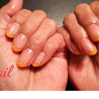 オレンジのフレンチ #オールシーズン #フレンチ #ミディアム #オレンジ #ジェル #お客様 #S-nail #ネイルブック