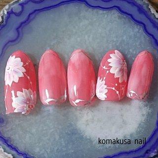 お花ネイル #お花ネイル#ピンクネイル#グラデーション#春ネイル#ラインアート #春 #ネイルチップ #komakusanail #ネイルブック
