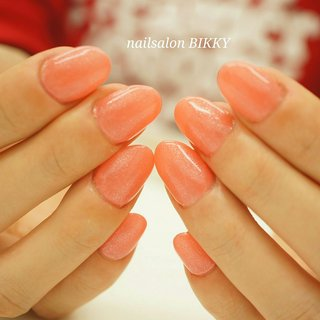 #シンプル #ワンカラー #オレンジ #Nailsalon BIKKY #ネイルブック