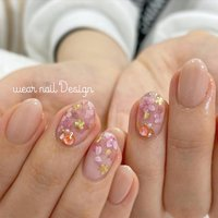 #春 #卒業式 #入学式 #ハンド #シンプル #グラデーション #フラワー #ショート #ベージュ #ピンク #ゴールド #ジェル #お客様 #MOMOKO / wear nail #ネイルブック