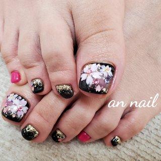#さくら #お客様 #フットジェル #さくらネイル #フット #ピンク #ブラック #an nail #ネイルブック