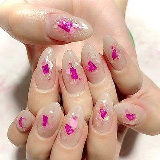 #シェルネイル #ピンク #ちゅるんネイル #Nail Saran #ネイルブック