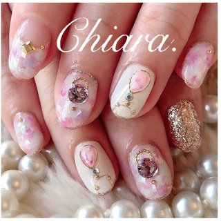 *   春design💍♡     Instagram → yochan4.nail #ビジュー #シェル #タイダイ #マーブル #ホワイト #ピンク #YokoShikata♡キアラ #ネイルブック