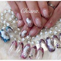 *   #flowernails 💍♡     Instagram → yochan4.nail #YokoShikata♡キアラ #ネイルブック