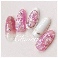*  #桜 nails 💍♡     Instagram → yochan4.nails #春 #オールシーズン #入学式 #フラワー #ホワイト #ピンク #YokoShikata♡キアラ #ネイルブック
